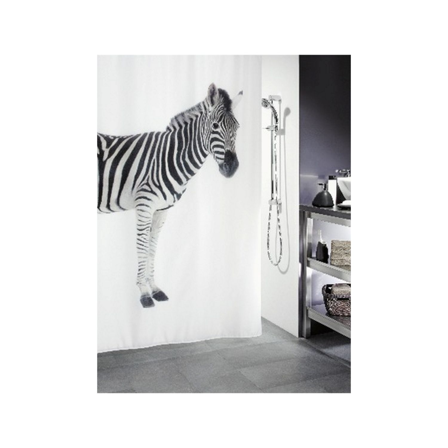 spirella duschvorhang textil tiere vers designs zebra black white. Black Bedroom Furniture Sets. Home Design Ideas